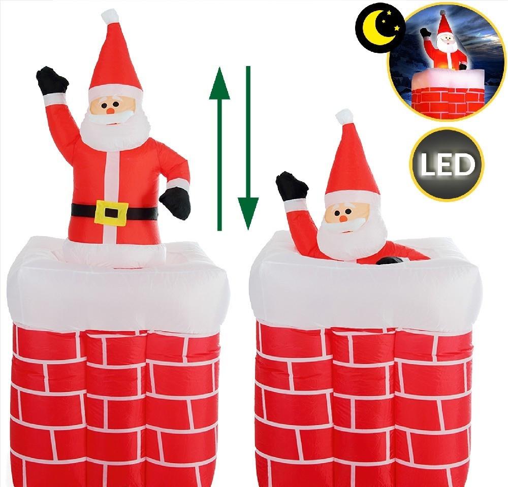Goleto Nafukovací vánoční dekorace - Komín se Santa Clausem | 178 cm