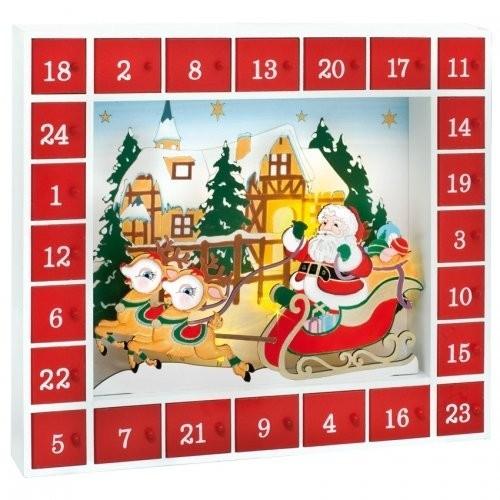 Dřevěný adventní kalendář s 5x LED osvětlením