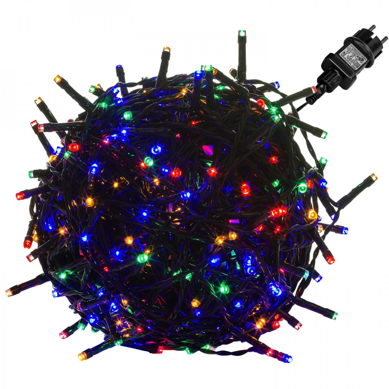 Goleto Vánoční LED osvětlení 10 m | barevné 100 LED | zelený kabel