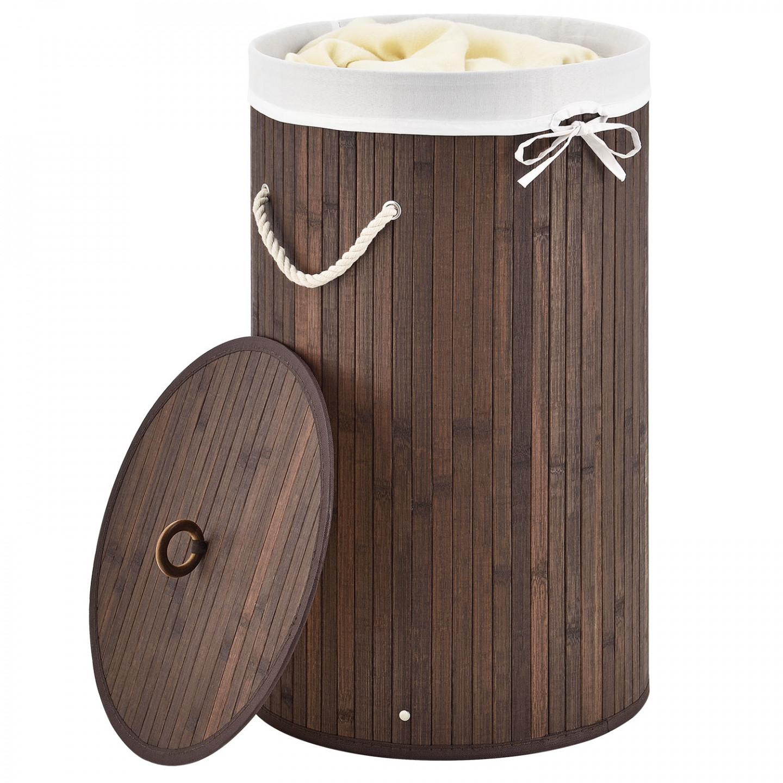 Goleto Bambusový kulatý koš na prádlo s víkem 55 L | hnědý