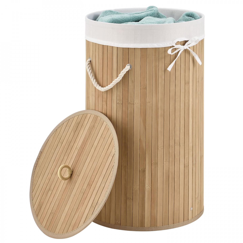 Goleto Bambusový kulatý koš na prádlo s víkem 55 L | přírodní