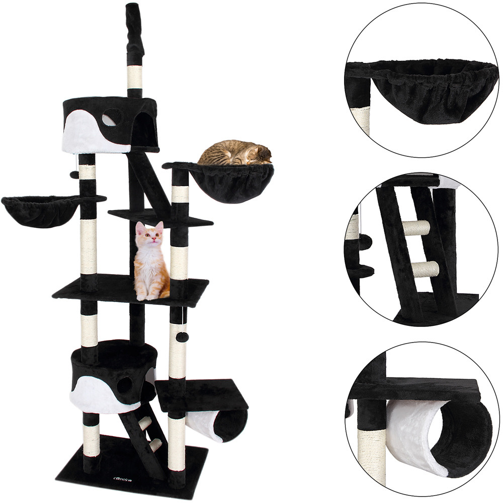 Goleto Škrabadlo pro kočky 240-260 x 50 x 120 cm   černo-bílé