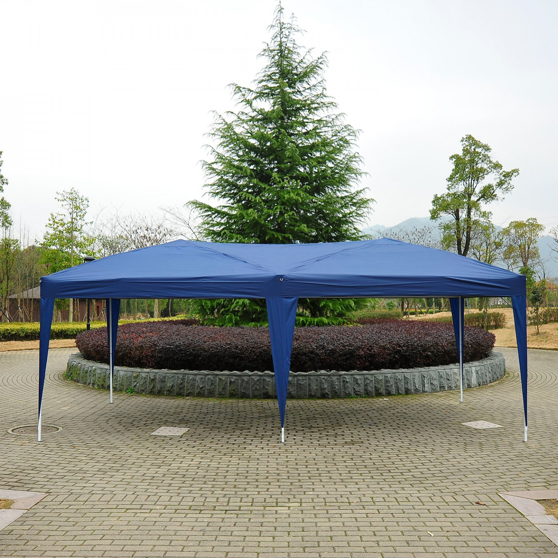 Levně Goleto Zahradní skládací párty stan 3 x 6 m   modrý