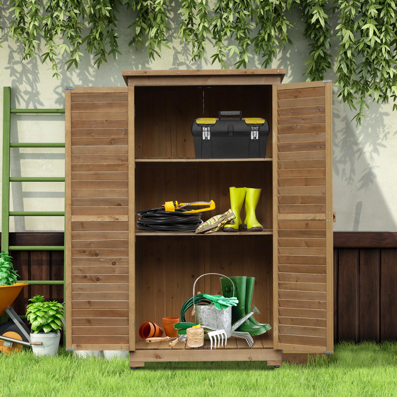 Goleto Dřevěná zahradní skříň   87 x 46,5 x 160 cm