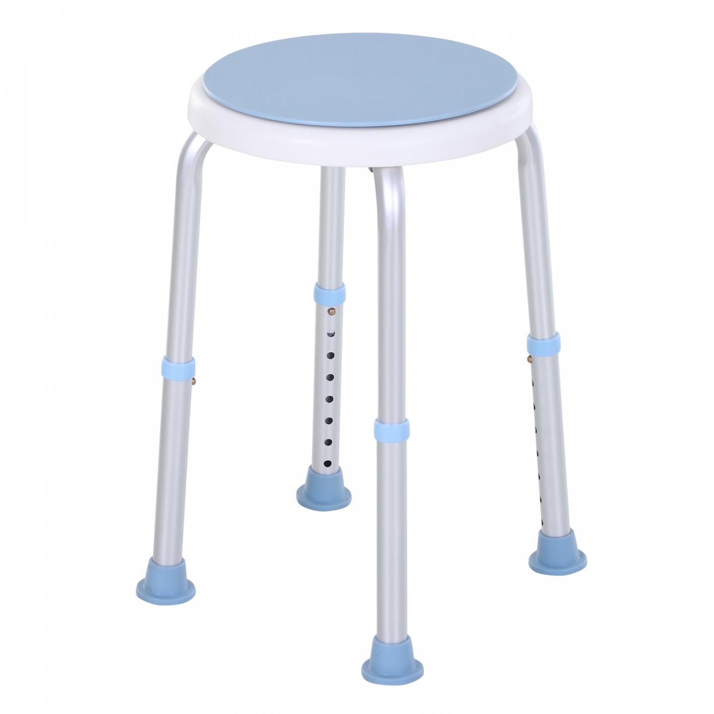 Goleto Otočná kulatá stolička do sprchy | modro-bílá