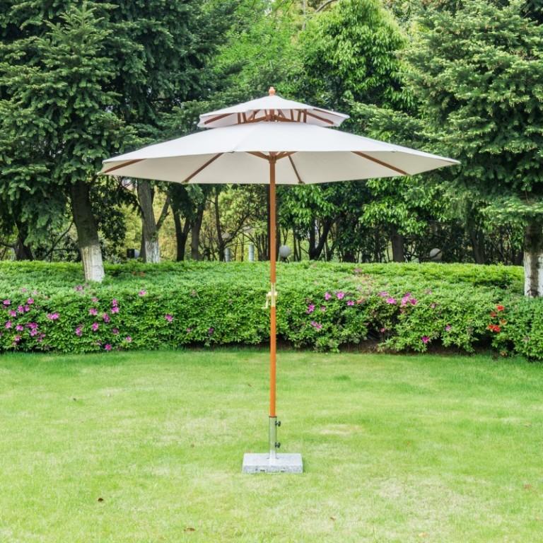Zahradní dřevěný slunečník se stříškou 270 x 260 cm | šedý