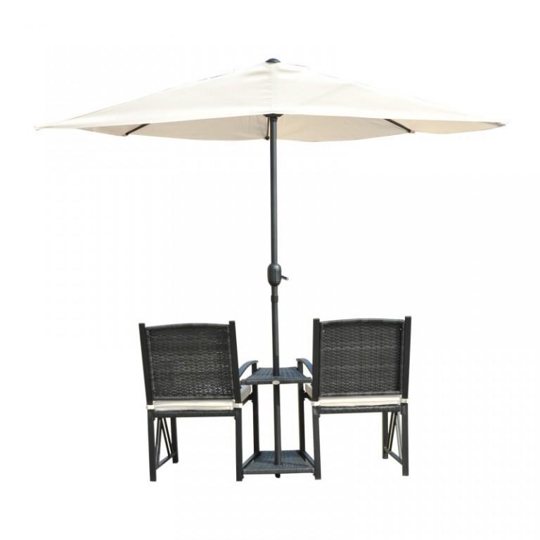 Zahradní polyratanový set židlí se slunečníkem | černý