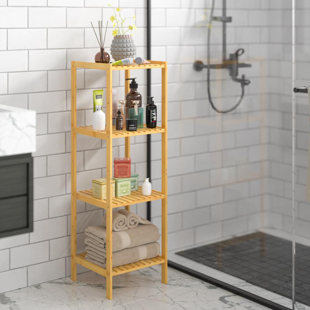 Goleto Bambusová police do koupelny   110 x 33 x 33 cm