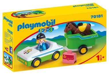 Levně Playmobil Playmobil 1.2.3 70181 Auto s přepravníkem na koně