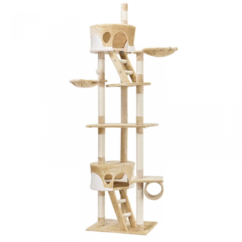 Goleto Škrabadlo pro kočky 240-265x55x115 cm | béžovo-bílé