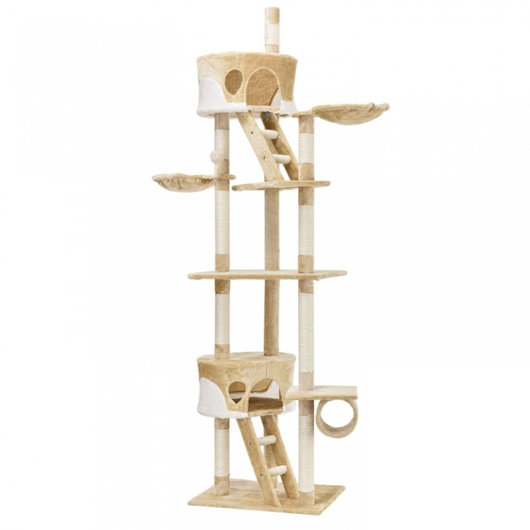 Škrabadlo pro kočky 240-265x55x115 cm   béžovo-bílé