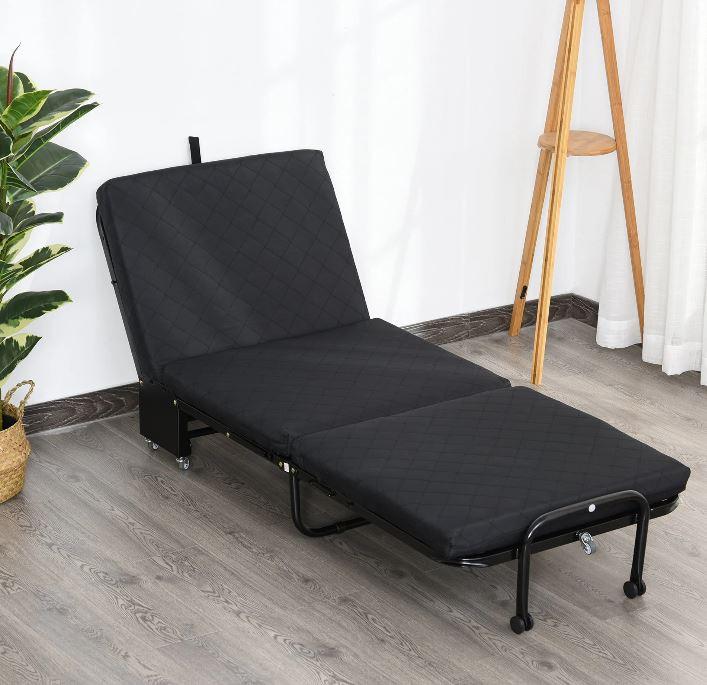 Goleto Skládací postel 184 x 65 x 26 cm   černá