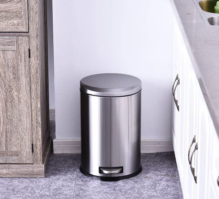 Goleto Pedálový odpadkový koš Ø29,2 x 44 cm   stříbrný