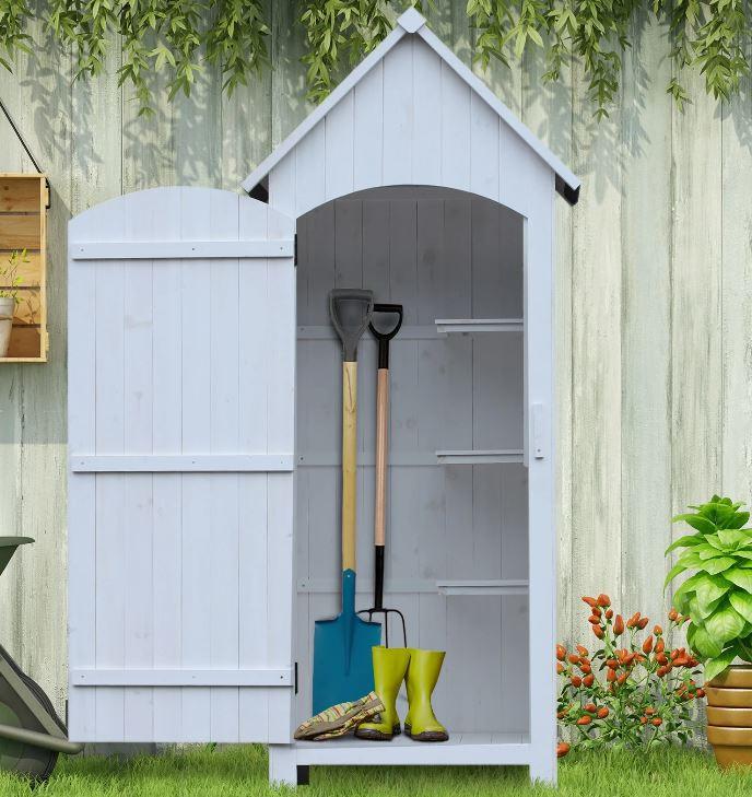Goleto Dřevěná zahradní skříň na nářadí 77,5 x 54,2 x 179,5 cm | bílá