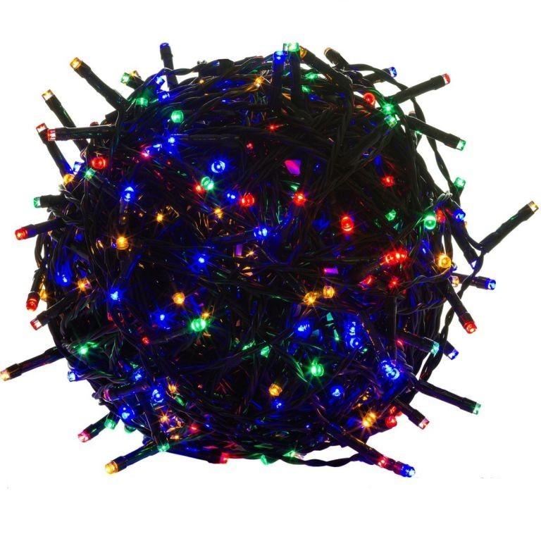 Vánoční LED osvětlení 60 m | barevné 600 LED | zelený kabel