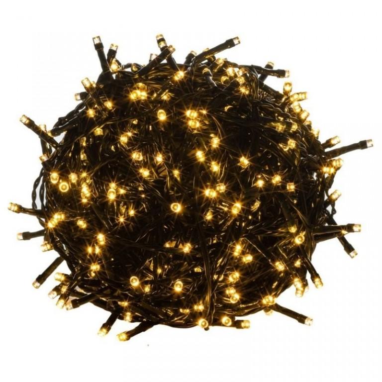Vánoční LED osvětlení 60 m | teplá bílá 600 LED | zelený kabel