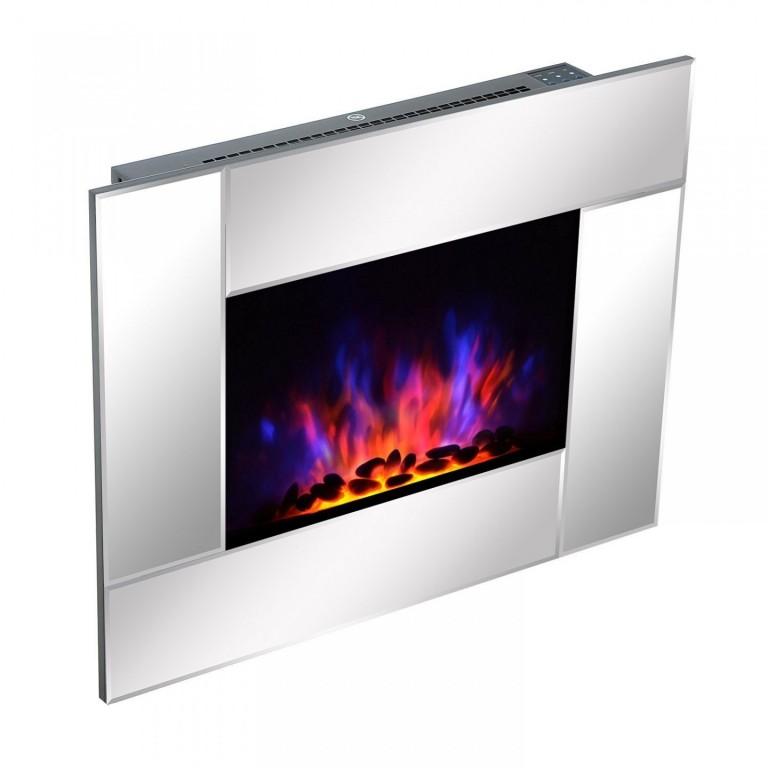 Elektrický krb na zeď LED 900/1800W | stříbrný
