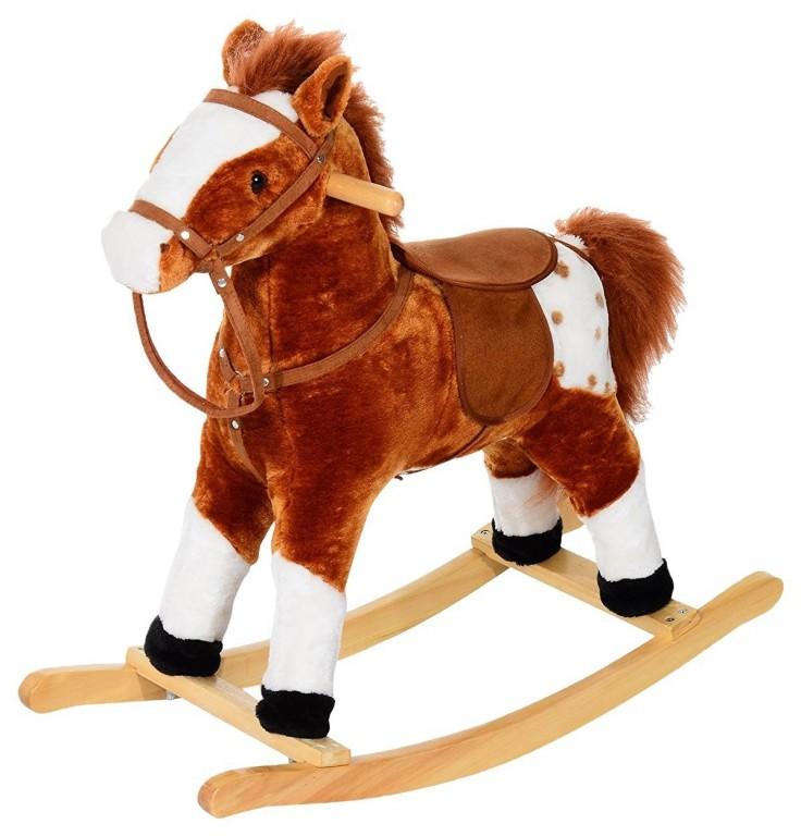 Houpací kůň se zvuky, hnědý