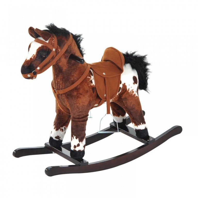 Houpací kůň se zvuky, tmavě hnědý