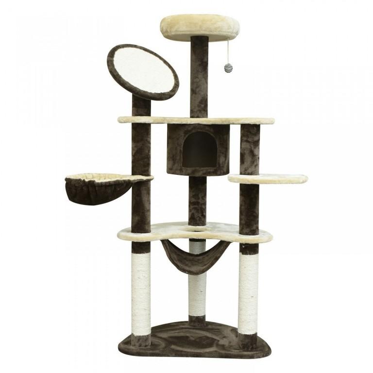 Škrabadlo pro kočky 153x50x65 cm   krémovo-hnědé