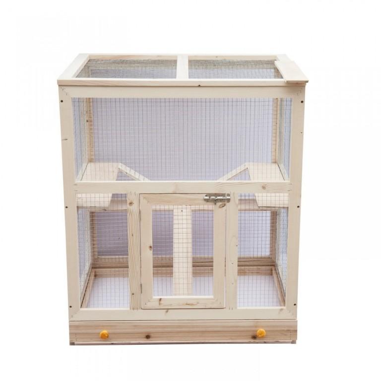 Dřevěná klec pro králíky a hlodavce 75 x 60 x 90 cm