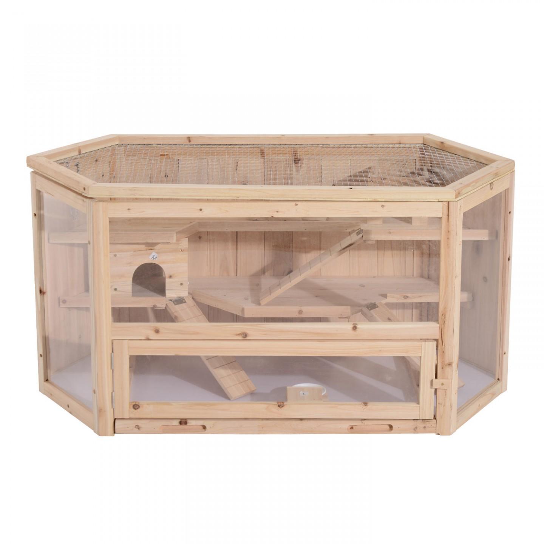 Goleto Dřevěná klec pro hlodavce 115 x 60 x 58 cm