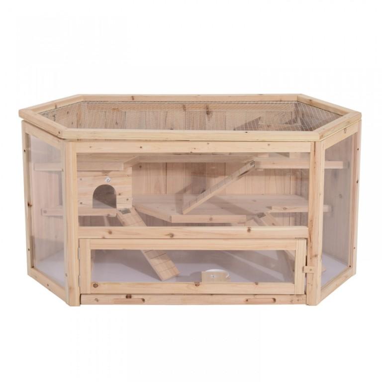 Dřevěná klec pro králíky a hlodavce 115 x 60 x 58 cm