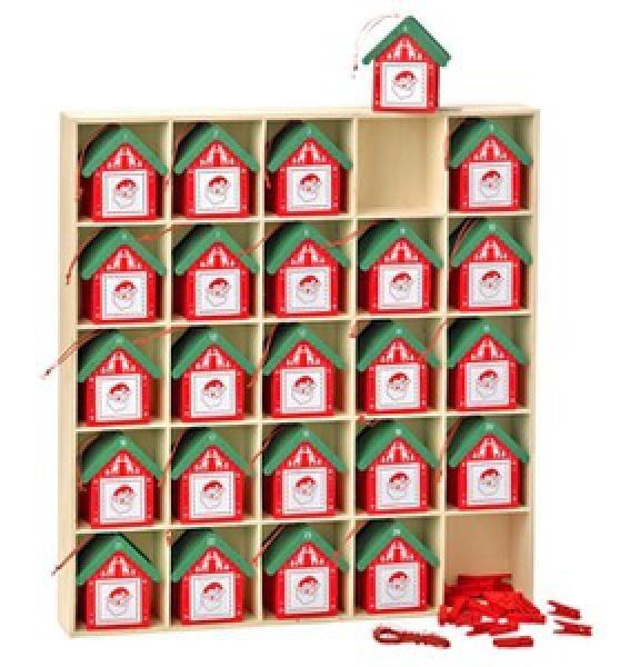 Dřevěný adventní kalendář Domečky