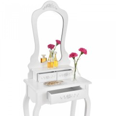 Originální vintage toaletní stolek se zrcadlem Sophia | bílý č.4