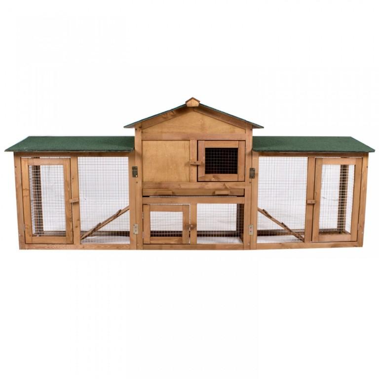 Dřevěná králíkárna s výběhem 204 x 45 x 84 cm