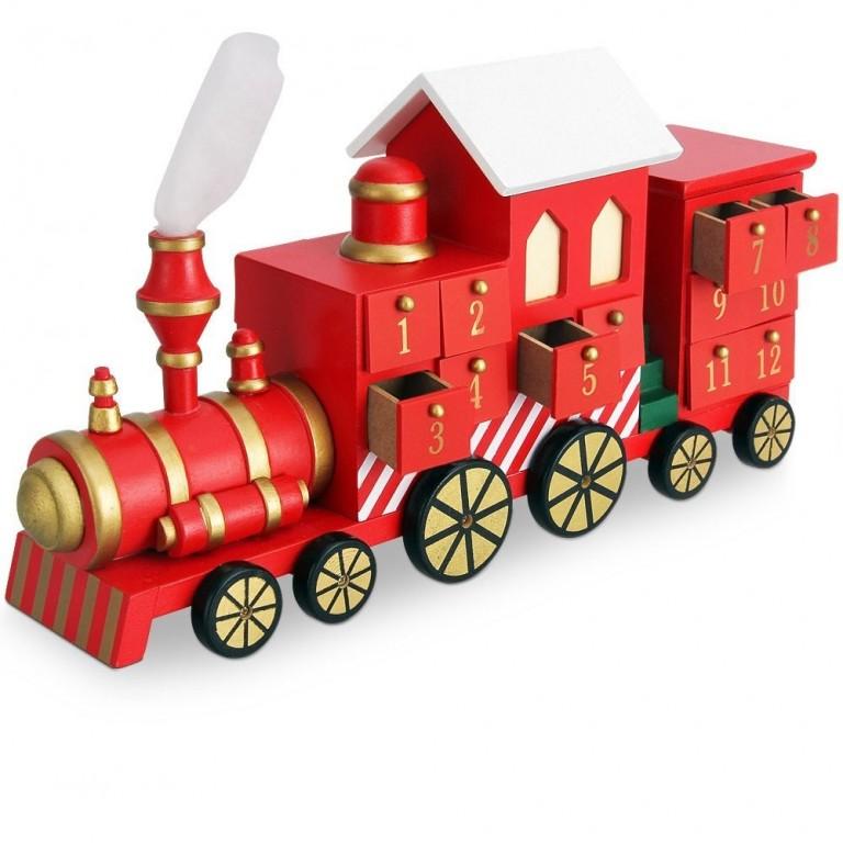 Dřevěný adventní kalendář Vánoční vlak