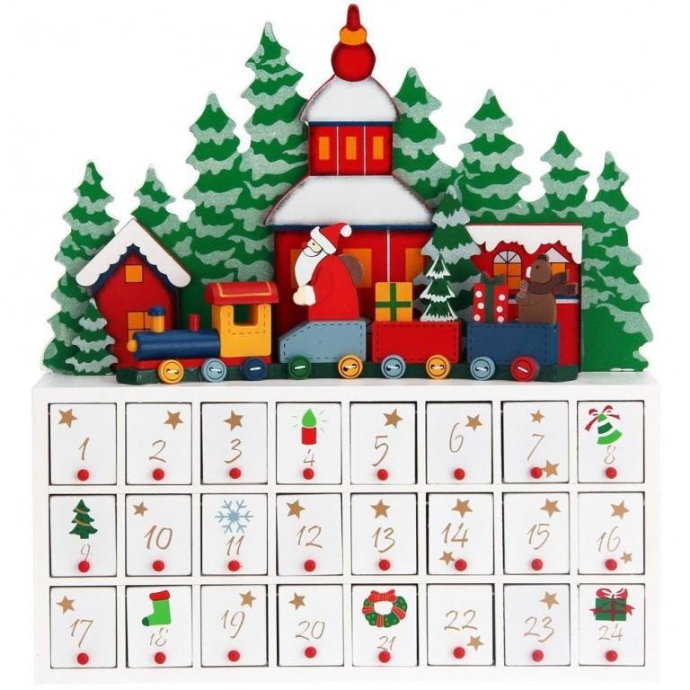 Dřevěný adventní kalendář Zimní krajina
