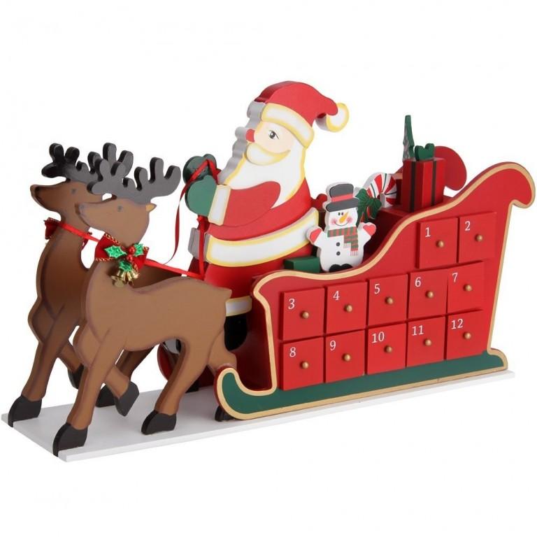 Dřevěný adventní kalendář Sobi se sáněmi