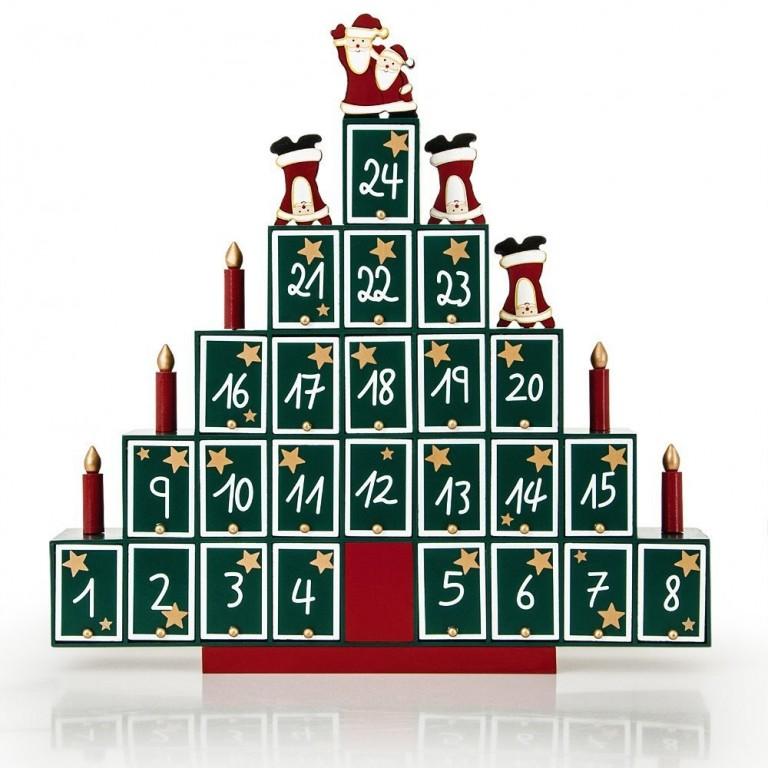 Dřevěný adventní kalendář Pyramida