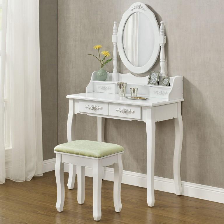Originální vintage toaletní stolek se zrcadlem Mira | bílý