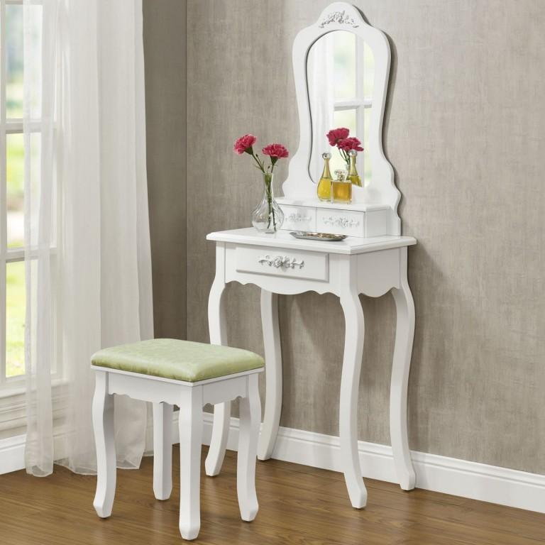 Originální vintage toaletní stolek se zrcadlem Sophia | bílý