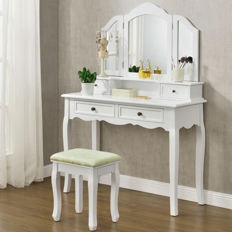 Originální vintage toaletní stolek se zrcadlem Fiona | bílý