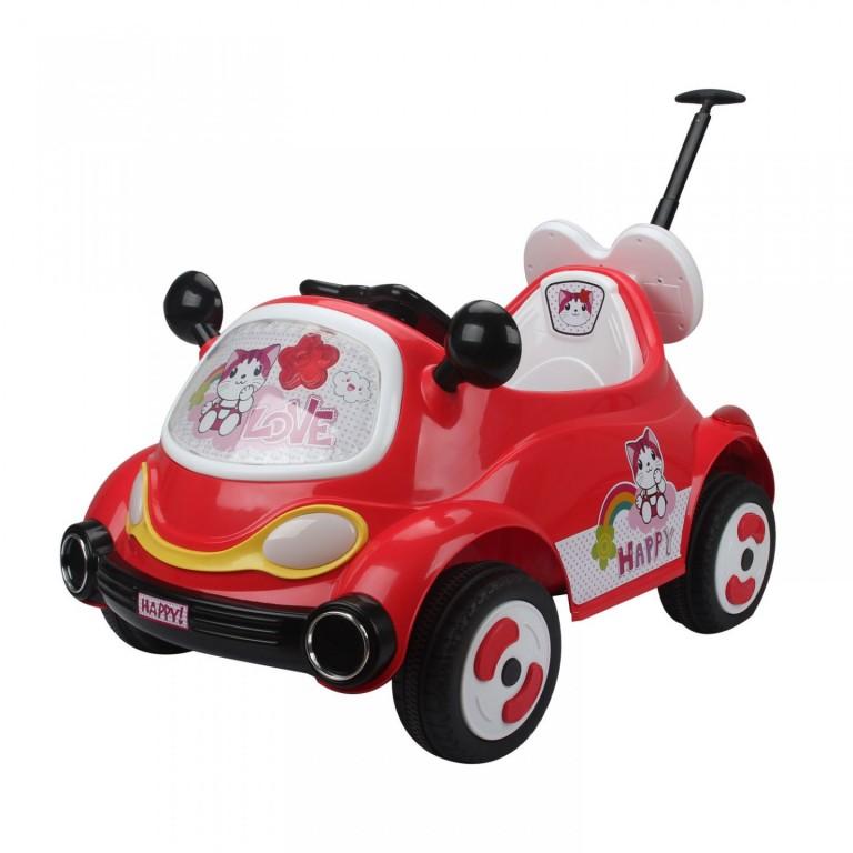 Dětské elektrické auto s vodící tyčí, červené