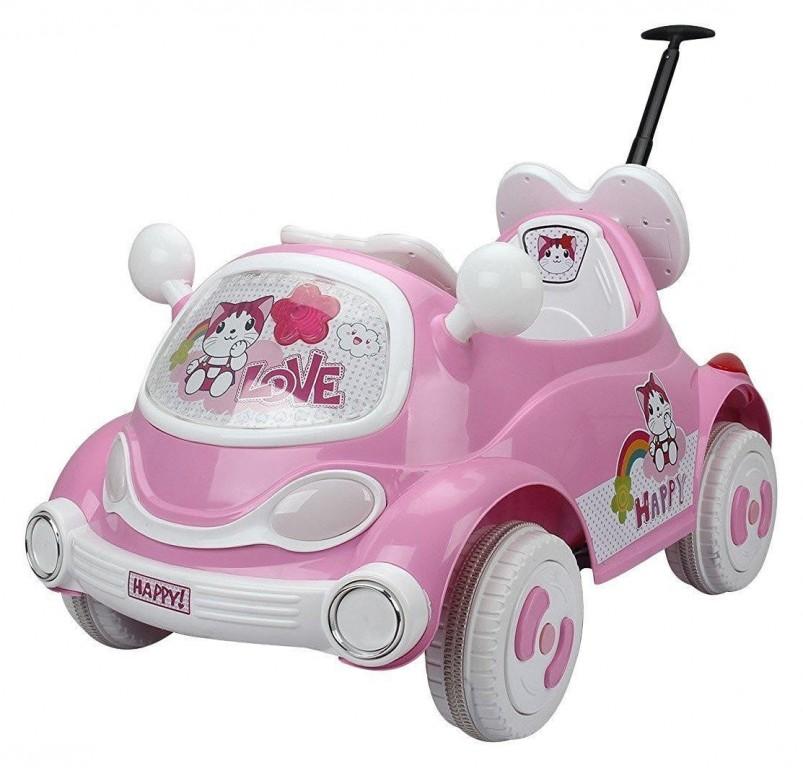 Dětské elektrické auto s vodící tyčí, růžové