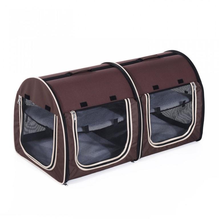 Přepravní box pro 2 psy 99 x 51 x 51 cm | hnědý