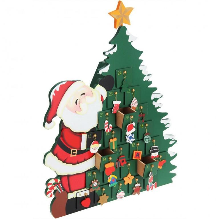 Dřevěný adventní kalendář Vánoční stromeček