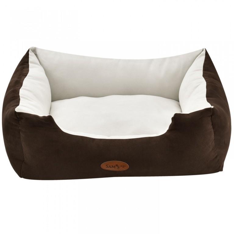 Pelíšek pro psa 60 x 48 x 18 cm hnědý/krémový