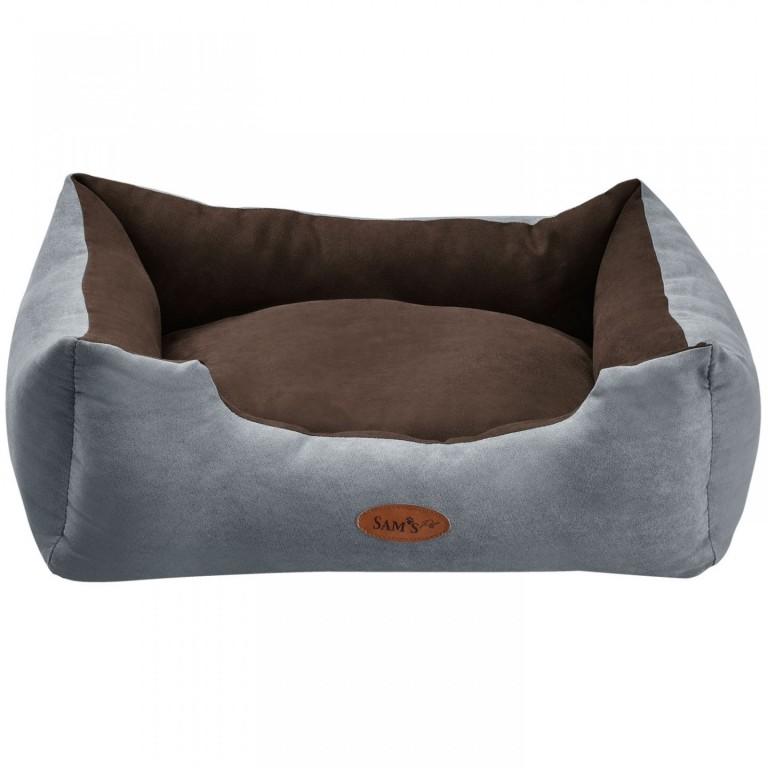 Pelíšek pro psa 60 x 48 x 18 cm šedý/hnědý