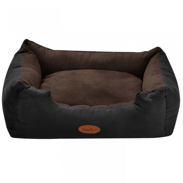 Pelíšek pro psa 60 x 48 x 18 cm černý/hnědý