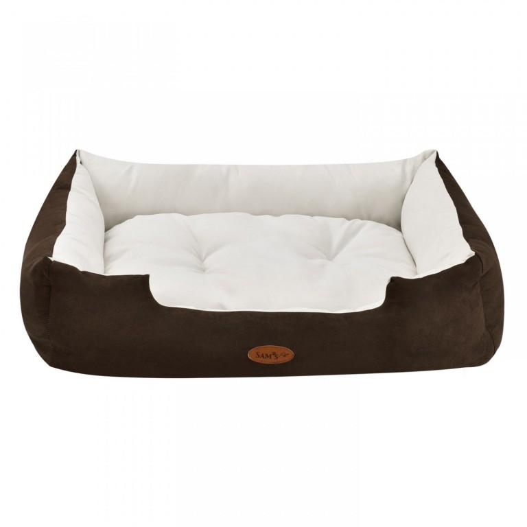Pelíšek pro psa 80 x 60 x 18 cm hnědý/krémový