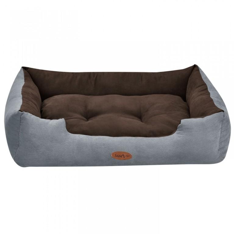 Pelíšek pro psa 80 x 60 x 18 cm šedý/hnědý