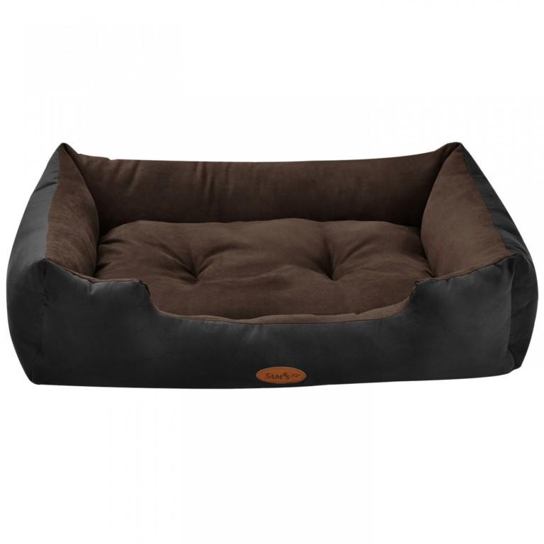 Pelíšek pro psa 80 x 60 x 18 cm černý/hnědý