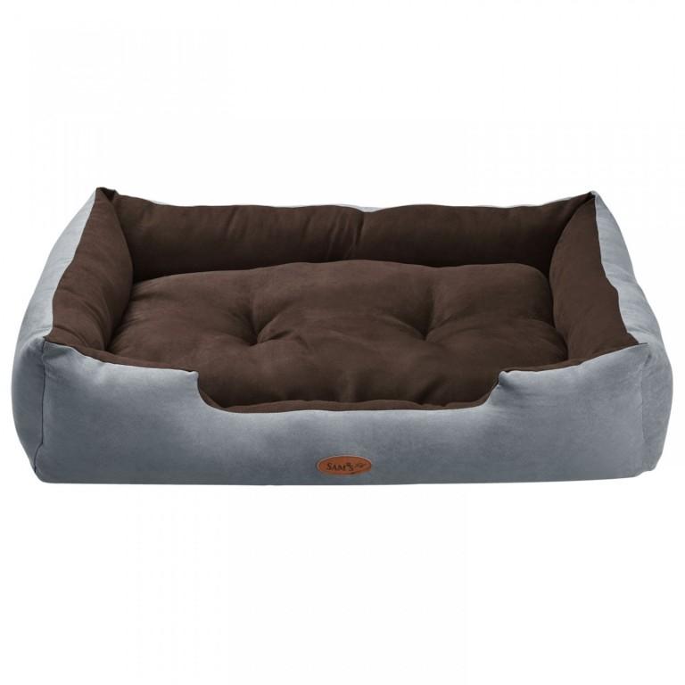 Pelíšek pro psa 90 x 70 x 18 cm šedý/hnědý
