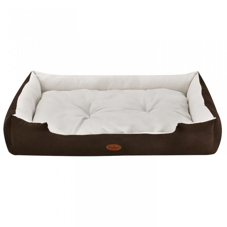 Pelíšek pro psa 110 x 80 x 18 cm hnědý/krémový