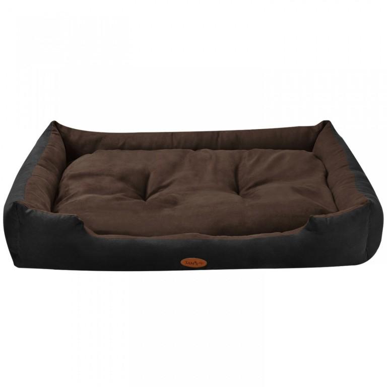 Pelíšek pro psa 110 x 80 x 18 cm černý/hnědý